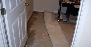 Water Damage From Flooding In Office Building